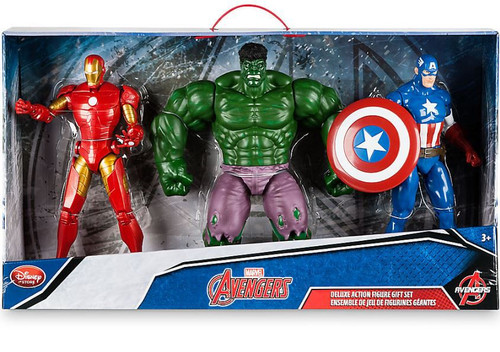 Disney Marvel Avengers Iron Man, Hulk & Captain America Exclusive Deluxe Action Figure 3-Pack Gift Set [Version 1 Package]
