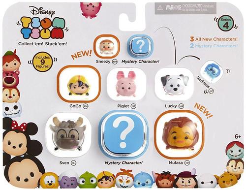 Disney Tsum Tsum Series 4 Sneezy, GoGo, Piglet, Lucky, Sadness, Sven & Mufasa 1-Inch Minifigure 9-Pack
