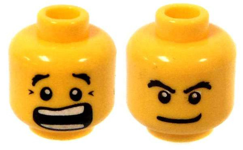 Yellow Male with Grin / Scream Minifigure Head [Dual-Sided Print Loose]