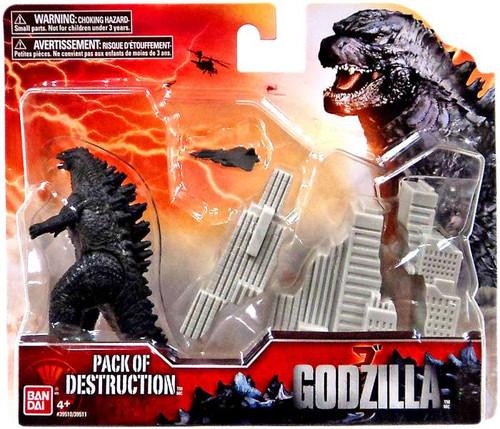 Godzilla 2014 Pack of Destruction Playset [Godzilla, Random Color Buildings, Damaged Package]