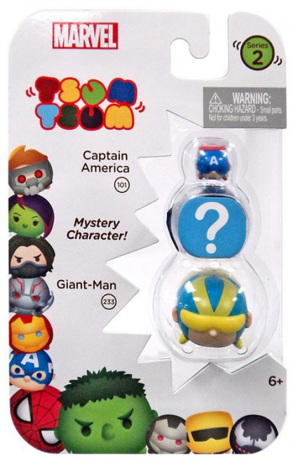 Marvel Tsum Tsum Series 2 Captain America & Giant-Man 1-Inch Minifigure 3-Pack #101 & 233