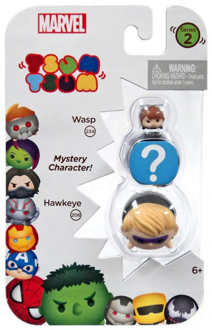 Marvel Tsum Tsum Series 2 Wasp & Hawkeye 1-Inch Minifigure 3-Pack #234 & 206