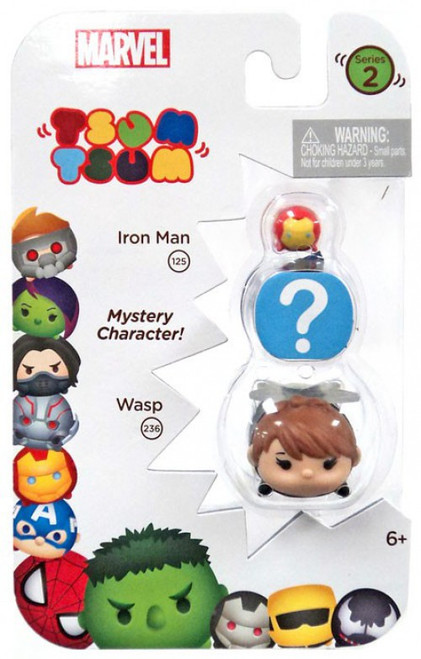Marvel Tsum Tsum Series 2 Iron Man & Wasp 1-Inch Minifigure 3-Pack #125 & 236