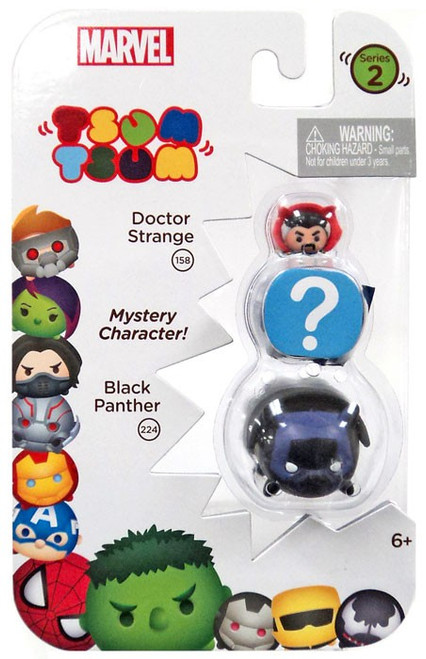 Marvel Tsum Tsum Series 2 Doctor Strange & Black Panther 1-Inch Minifigure 3-Pack #158 & 224