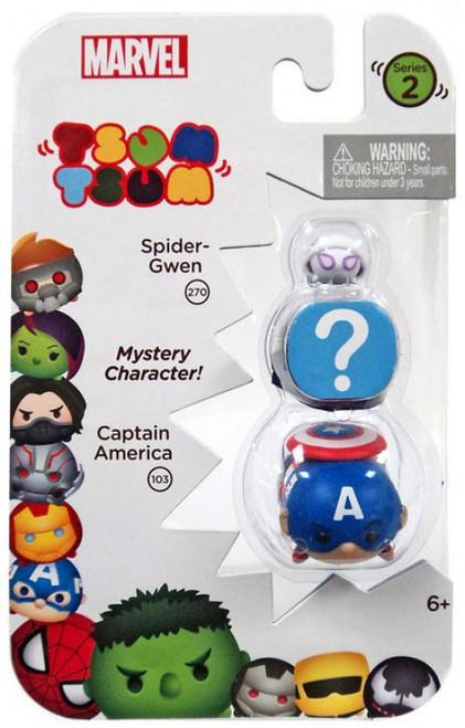 Marvel Tsum Tsum Series 2 Spider-Gwen & Captain America 1-Inch Minifigure 3-Pack #270 & 103