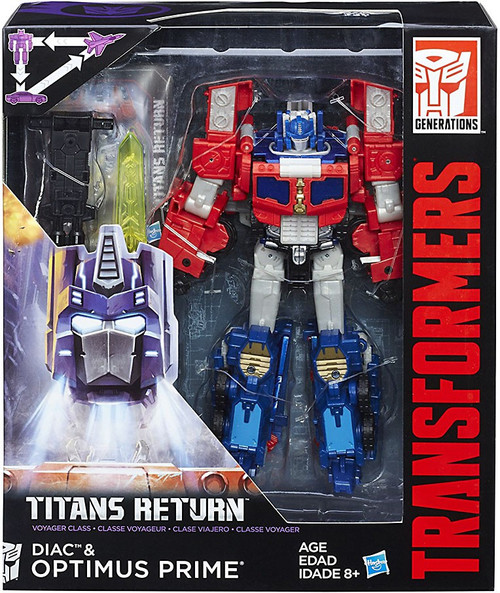 Transformers Generations Titans Return Diac & G2 Optimus Prime Voyager Action Figure