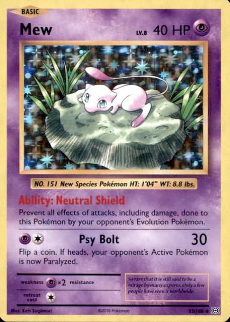 Pokemon X & Y Evolutions Rare Holo Mew #53