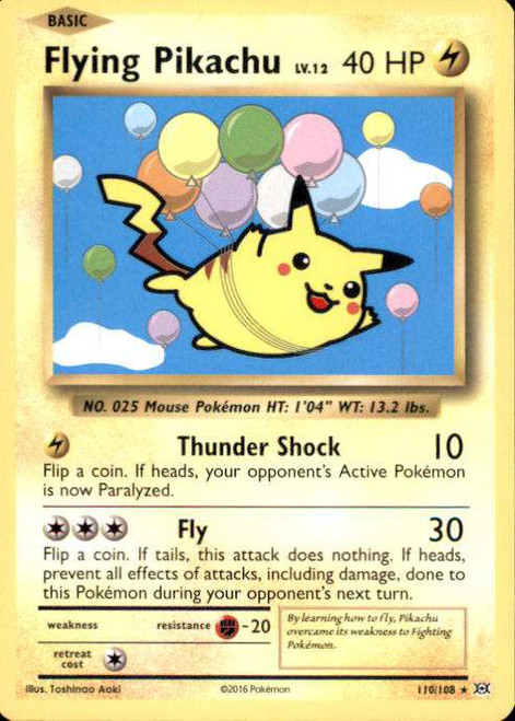 Pokemon X & Y Evolutions Secret Rare Flying Pikachu #110