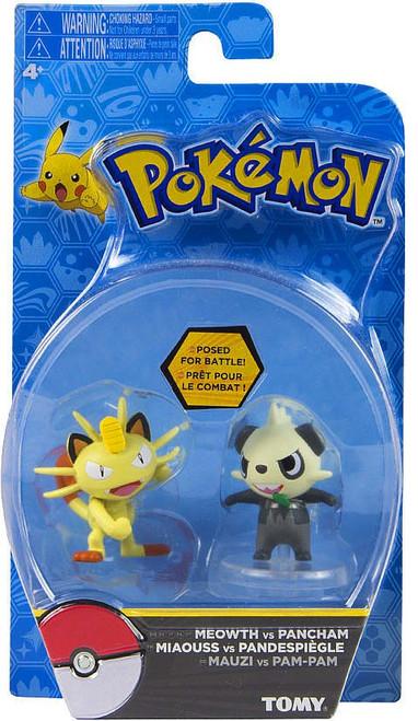 Pokemon Action Pose Meowth & Pancham 2-Inch Mini Figure 2-Pack