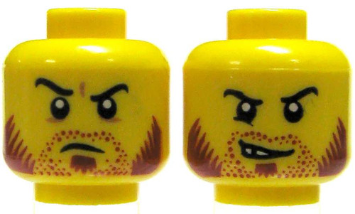 Yellow Male with Red Chops and Angry / Evil Grin Minifigure Head [Dual-Sided Print Loose]