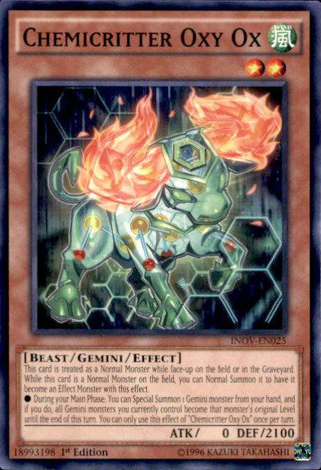 YuGiOh Invasion: Vengeance Common Chemicritter Oxy Ox INOV-EN025