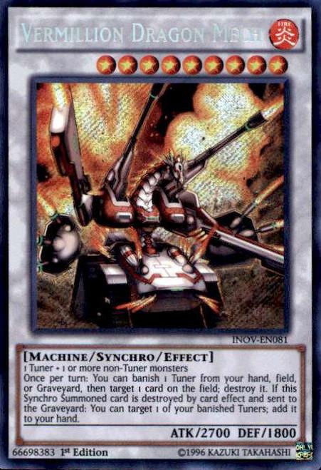 YuGiOh Invasion: Vengeance Secret Rare Vermillion Dragon Mech INOV-EN081