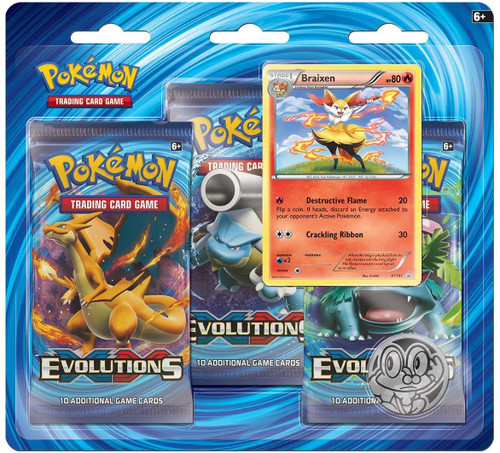 Pokemon Trading Card Game XY Evolutions Braixen Special Edition [3 Booster Packs, Promo Card & Coin]