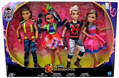 Disney Descendants Neon Lights Ball Jay, Freddie, Carlos & Audrey Exclusive 11-Inch Doll 4-Pack