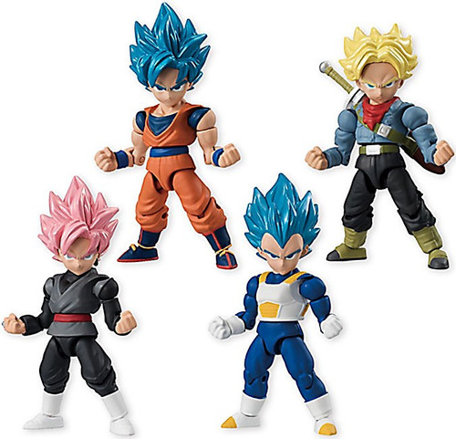 Dragon Ball Z Dragon Ball Super 66 Action Trunks, Goku, Vegeta & Goku Black Set of 4 Action Figures