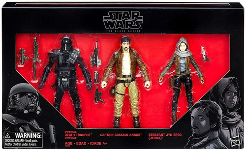 Star Wars Rogue One Black Series Death Trooper, Captain Cassian Andor & Sergeant Jyn Ers Exclusive Action Figure 3-Pack