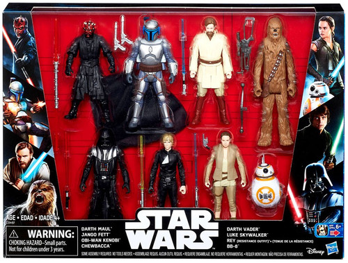 Star Wars The Force Awakens Maul, Jango, Obi-Wan, Chewbacca, Vader, Luke, Rey & BB-8 Exclusive Action Figure 7-Pack