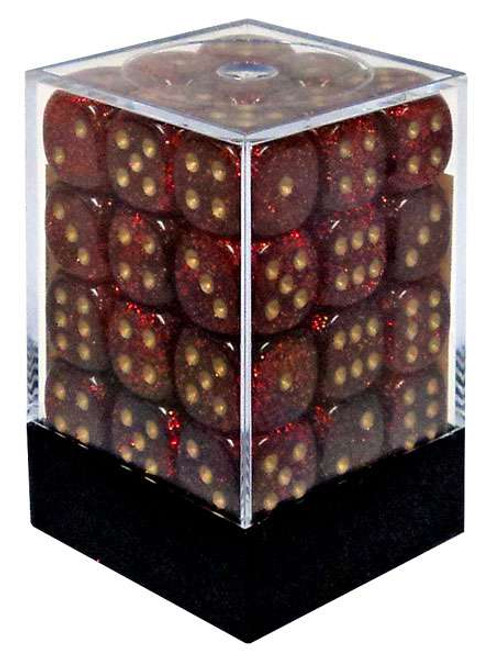 Chessex 6-Sided d6 Glitter 12mm Dice Pack #27904 [Ruby & Gold]
