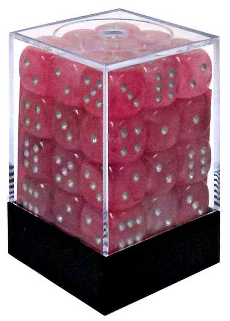 Chessex 6-Sided d6 Ghostly Glow 12mm Dice Pack #27924 [Pink & Silver]