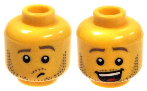Yellow Male with Thrilled / Worried Minifigure Head [Dual-Sided Print Loose]