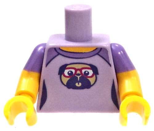LEGO Lavender Short-Sleeved Shirt with Pug Loose Torso [Loose]