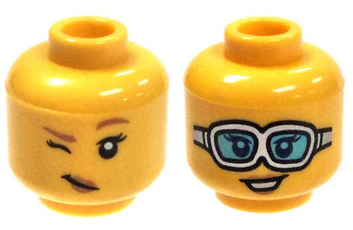 Yellow Female with Grin & Goggles / Winking Minifigure Head [Dual-Sided Print Loose]