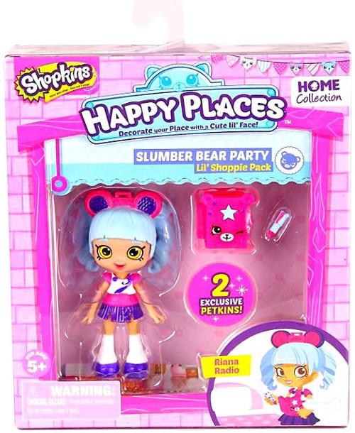 Shopkins Happy Places Series 2 Riana Radio Lil' Shoppie Pack #351 & 350 [Slumber Bear Party]