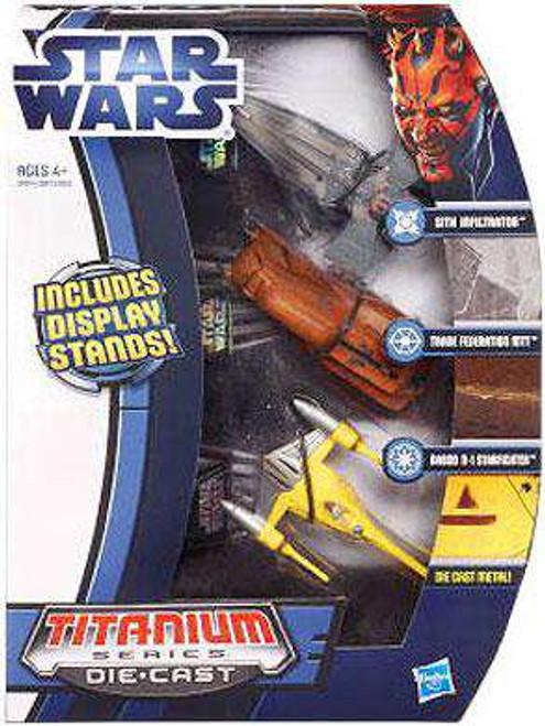 Star Wars Phantom Menace Titanium Series 2012 Sith Infiltrator, Trade Federation MTT & Naboo N-1 Starfighter Exclusive Diecast Vehicle Set