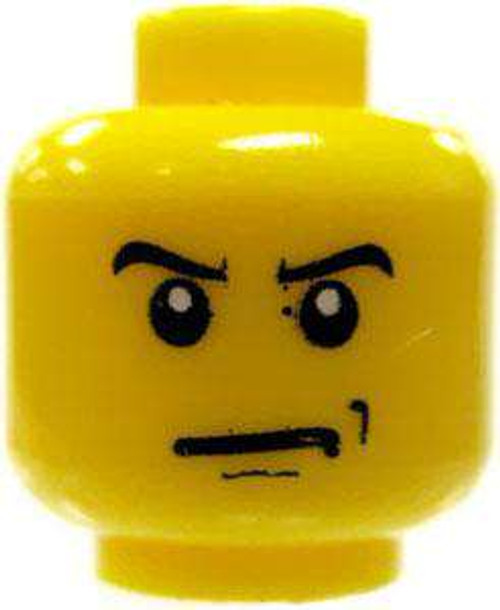 Angry Face & Scowl Minifigure Head [Yellow Loose]
