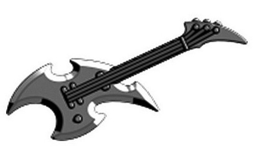 BrickArms Axe Guitar 2.5-Inch Minifigure Accessories [Gunmetal Loose]