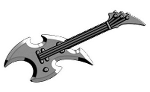 BrickArms Axe Guitar 2.5-Inch Minifigure Accessories [Silver Loose]