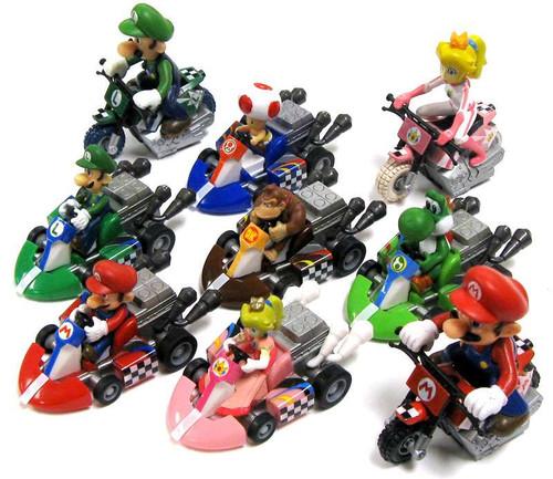 Super Mario Mario Kart Complete Set of all 9 Pull Back Racers & Bikes Pull Back Racer