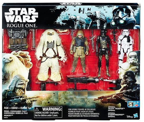 Star Wars Rogue One Rebel Commando Pao, Moroff, Death & Storm Troopers Exclusive Action Figure Battle 4-Pack