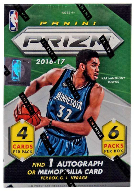 NBA Panini 2016-17 Prizm Basketball Trading Card BLASTER Box [6 Packs, 1 Autograph OR Memorabilia Card!]