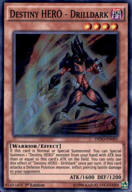 YuGiOh Destiny Soldiers Super Rare Destiny HERO - Drilldark DESO-EN001