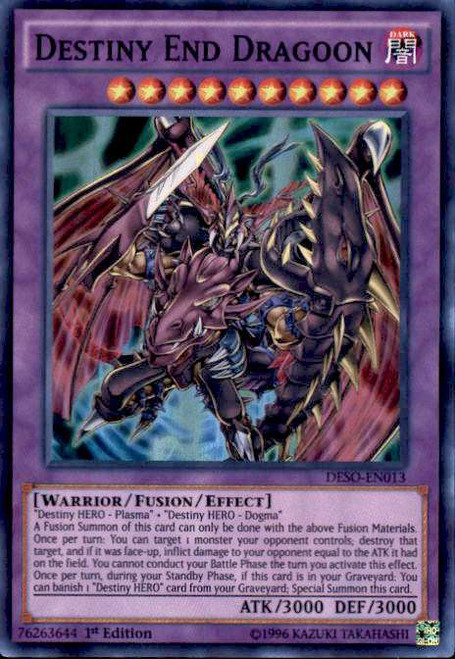 YuGiOh Destiny Soldiers Super Rare Destiny End Dragoon DESO-EN013