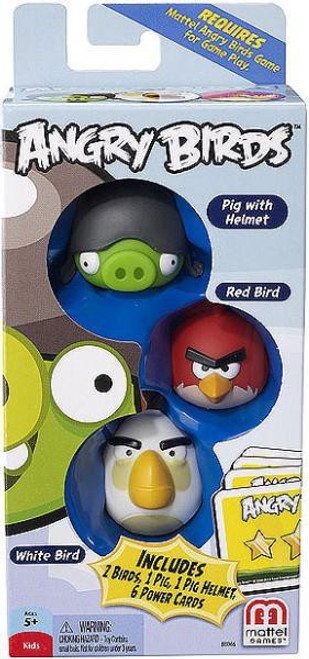 Mattel Angry Birds Game Pig with Helmet, Red Bird & White Bird Mini Figure 3-Pack