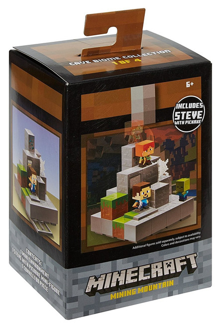 Minecraft Cave Biome Collection Mining Mountain Mini Figure Environment Playset #1 of 4 [Includes Steve with Pickaxe]