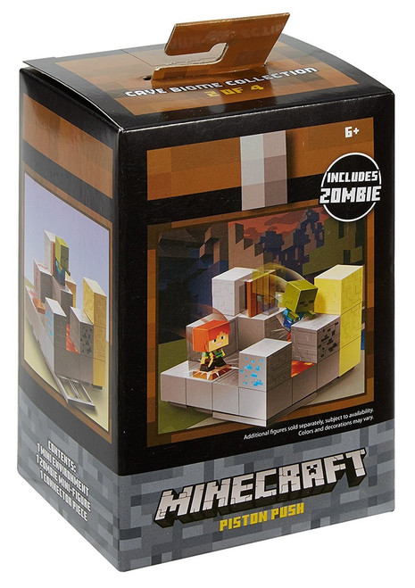 Minecraft Cave Biome Collection Piston Push Mini Figure Environment Playset #2 of 4 [Includes Zombie]