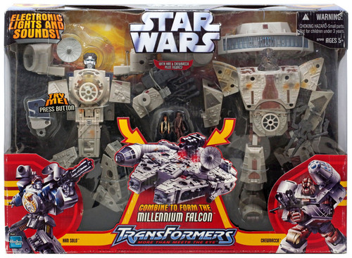 Star Wars A New Hope Transformers 2006 Han Solo & Chewbacca Millennium Falcon Action Figure [Damaged Package]