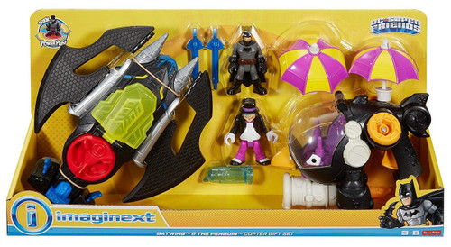 Fisher Price DC Super Friends Imaginext Batwing & The Penguin Copter 3-Inch Figure Set