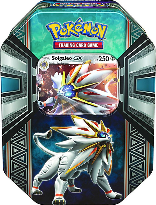 Pokemon Trading Card Game 2017 Legends of Alola Solgaleo-GX Tin Set [4 Booster Packs & Promo Card!]