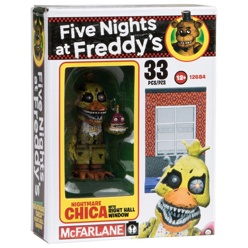 McFarlane Toys Five Nights at Freddy's Nightmare Chica with Right Hall Window Micro Figure Build Set