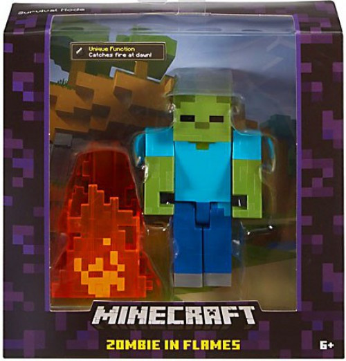 Minecraft Survival Mode Zombie In Flames Action Figure
