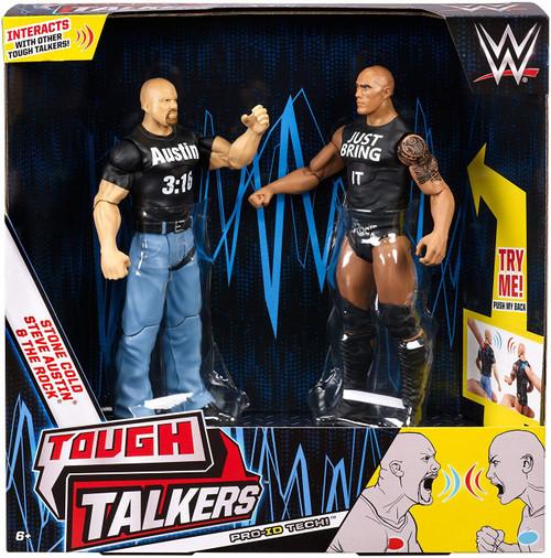 WWE Wrestling Battle Pack Tough Talkers Stone Cold Steve Austin & The Rock Action Figure 2-Pack