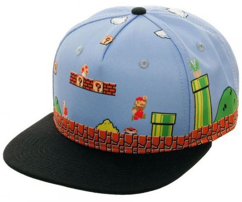 Super Mario 8-Bit All Over Scene Snapback Baseball Cap