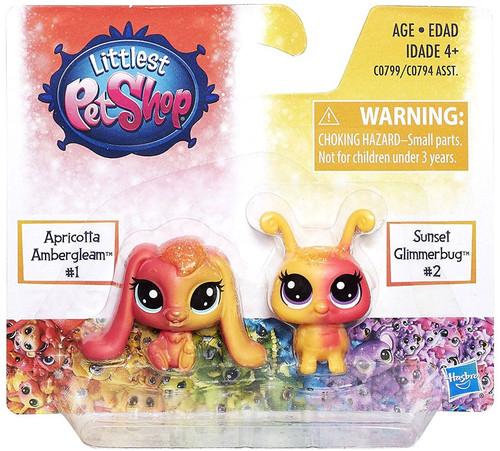 Littlest Pet Shop Rainbow Collection Apricotta Ambergleam & Sunset Glimmerbug Mini Pet 2-Pack #1 & 2