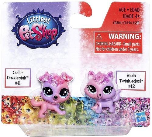 Littlest Pet Shop Rainbow Collection Collie Dazzlepink & Viola Twinkledust Mini Pet 2-Pack #11 & 12