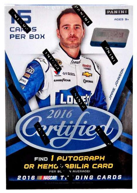 NASCAR Panini 2016 Certified Racing Trading Card BLASTER Box [3 Packs, 1 Autograph OR Memorabilia Card!]