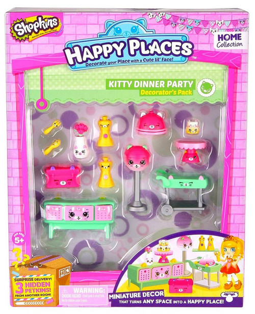 Shopkins Happy Places Series 2 Kitty Dinner Party Decorator's Pack